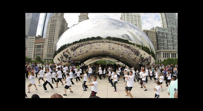 Flash Mob Enso Karate Studio at Chicago's Millennium Park in front of the Cloud Gate on September 10th, 2011.