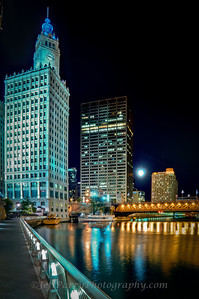 The Wrigley Building and Equitable Building Full Moon over Chicago River and Michigan Avenue Bridge