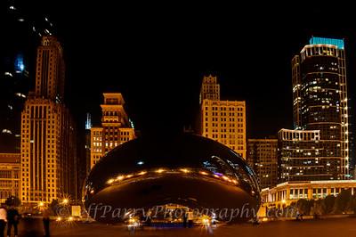 Chicago Cloud Gate night profile