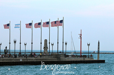 American Flags at Navy Pier