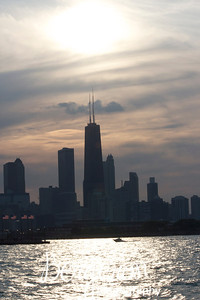 Chicago Skyline from Lake Michigan at Sunset