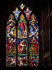 Stained Glass Window, North Transept, Killiskey Parish Church, Nuns Cross, Ashford, County Wicklow<br /> <br /> O'Connor; London, 1863; Iconography: Ascension; Raising of Jairus's Daughter left predella; Raising of the Widow's Son at Nain centre predella; Raising of Lazarus right predella.