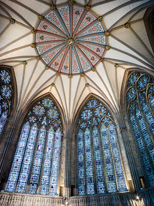 York Minster, Chapter house windows and ceiling.
