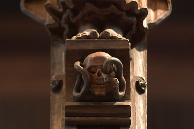 Rood Screen, skull of Adam at the base of the rood