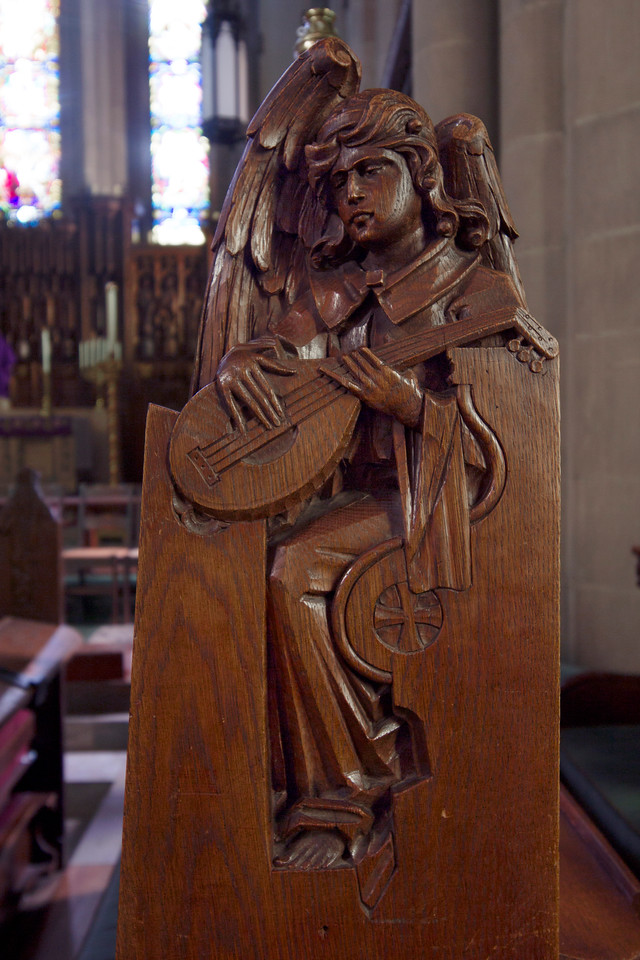 Choir Pew Figure 6: St. Angel with Lute, front