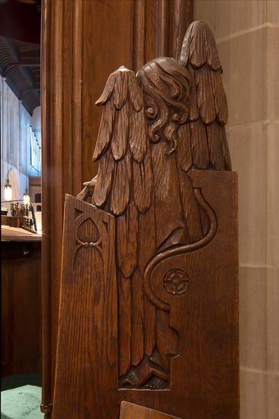 Choir Pew Figure 1: Angel with a Viol, rear