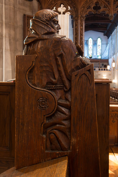 Choir Pew Figure 5: St. Bernard of Cluny, rear