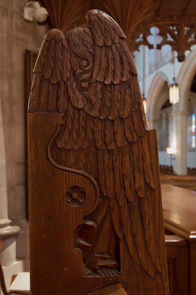 Choir Pew Figure 6: St. Angel with Lute, rear