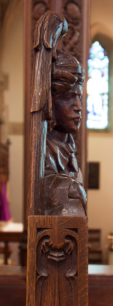 Choir Pew Figure 6: St. Angel with Lute, profile
