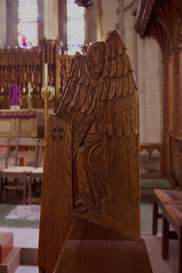 Choir Pew Figure 7: St. Angel with Heraldic Trumpet, rear