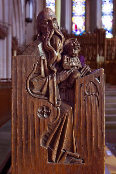 Choir Pew Figure 3: St. Simeon, front