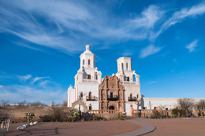 "San Xavier del Bac Mission of Tucson, Arizona.  Otherwise known as the ""White Dove of the Desert""."