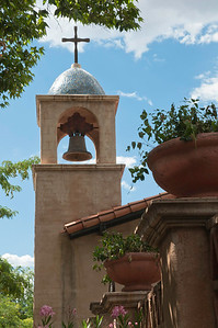 Blue sky and bell tower in Sedona, Arizona on a bright beautiful day.