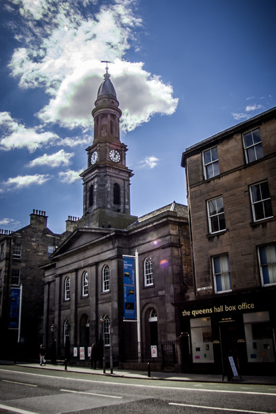 The Queen's Hall was built in 1823 as Hope Park Chapel of Ease for St<br /> Cuthbert's Parish. It then became Newington and St Leonards Church (Church of Scotland).It was then converted to a concert hall 1978-9 and was opened as the Queen's Hall, new home of the Scottish Philharmonic Society, by Her Majesty the Queen 6 July 1979.