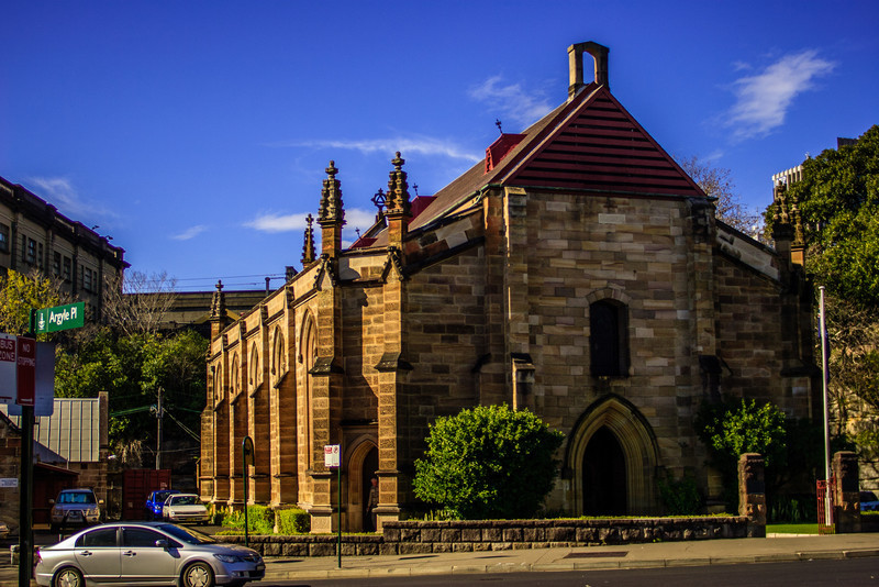 Sydney, Australia<br /> The Church of the Holy Trinity (commonly called the 'Garrison Church'), Lower Fort St, The Rocks. Constructed 1840-1842 by stonemason George Paton (who built the nearby 'Hero of Waterloo Hotel'), to designs by Henry Ginn and Edmund Blacket.