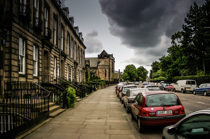 Edinburgh, Scotland<br /> Inverleith Terrace, looking toward Union House; built for the Christian Science Church in 1911.