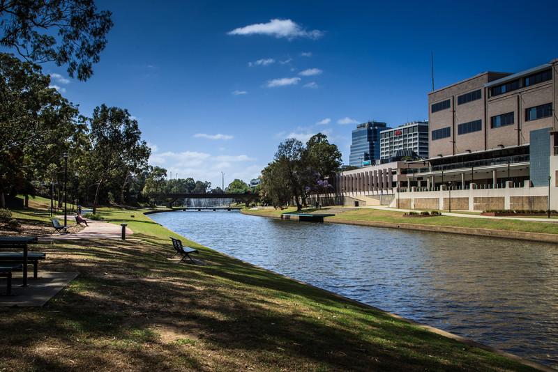 Parramatta, NSW, Australia<br /> The Parramatta River, with the Barry Wilde Bridge (and fountain) in the distance.