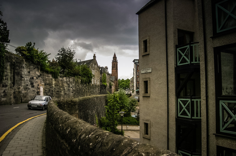 Edinburgh, Scotland<br /> Dean Village's Hawthornbank Lane. The tower belongs to the former 2nd Dean Free Church, built in 1888.