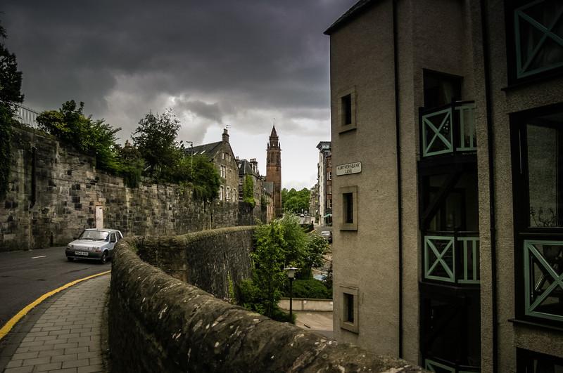 Edinburgh, Scotland<br /> Dean Village's Hawthornbank Lane. The tower belongs to the former 2nd Dean Free Church, built in 1888.