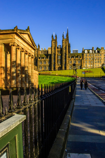 Edinburgh, Scotland<br /> Looking up the Mound; the National Gallery is on the left, with the towering spires of General Assembly Hall of the Church of Scotland in the distance.