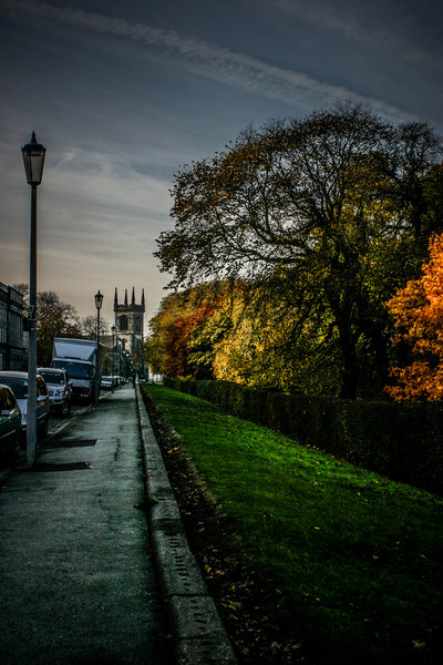 Edinburgh, Scotland<br /> Royal Terrace, with Greenside Parish Church at the far end.