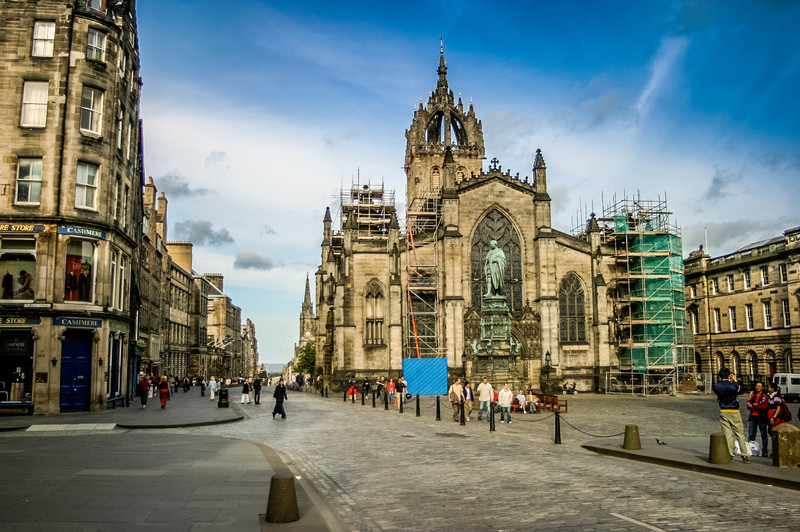 St Giles' Cathedral, Edinburgh<br /> St Giles' Cathedral. More correctly, the High Kirk of Edinburgh.<br /> <br /> The current building dates to 1385 (the original was destroyed by fire), and was extensively restored in the 19th century.