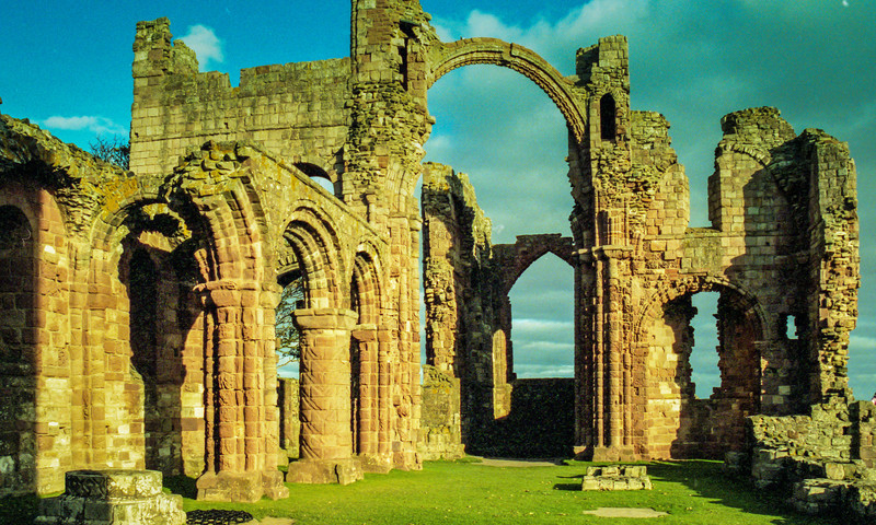 Lindisfarne (Holy Island), England<br /> Lindisfarne Priory, partly destroyed in about 875 by Viking raids; and partly in 1536 by King Henry VIII.