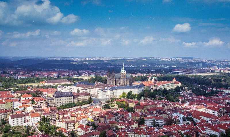 Prague, with the striking St Vitus' Cathedral in the centre.
