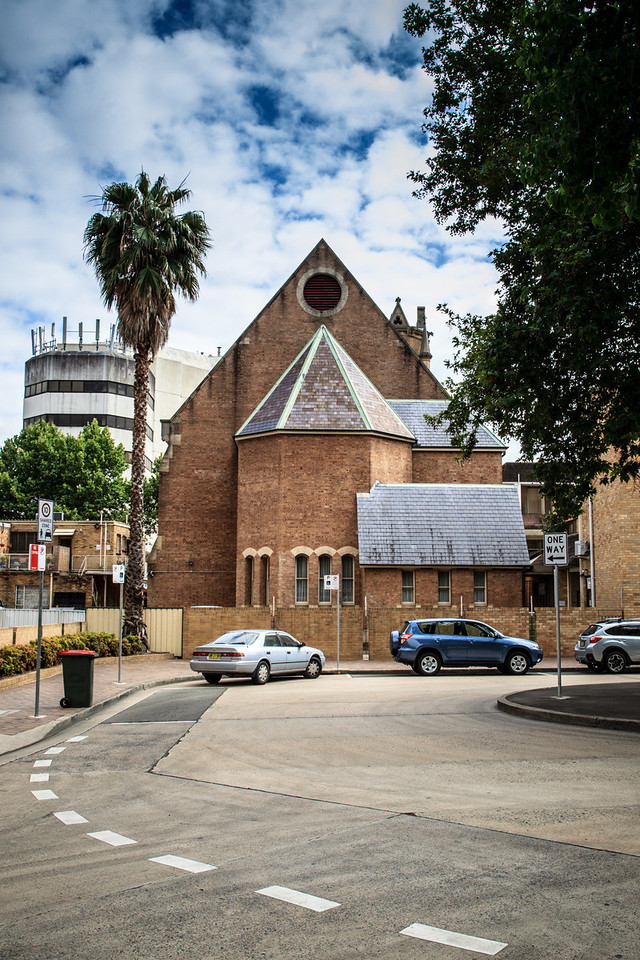 Parramatta, NSW, Australia<br /> Rear of the Leigh Memorial Uniting Church, seen from Civic Place (soon to be Parramatta Square).