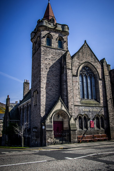 Kirk O'Field parish church, Pleasance. Opened in 1912, it took its name from the historic St Mary-in-the-Fields which stood on the site now occupied by the University's Old College.