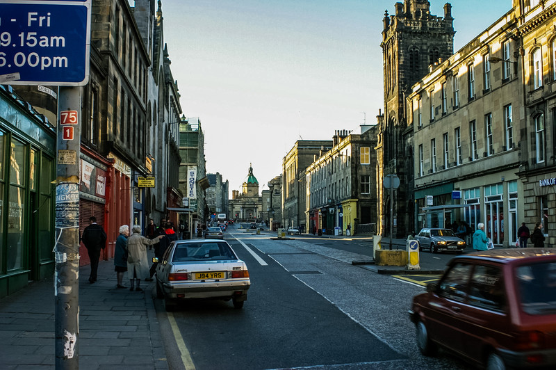 Edinburgh, Scotland<br /> The George IV Bridge, with the Augustine United Church on the right.