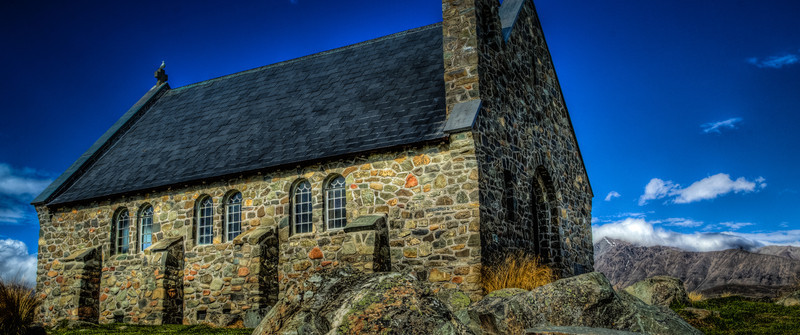 Lake Tekapo, New Zealand<br /> Church of the Good Shepherd.