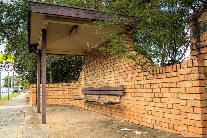 Ryde, Sydney, NSW, Australia<br /> Bus Stop on what was formerly part of the Great North Rd, now a section of Victoria Rd. Near entrance to St Charles' Church.