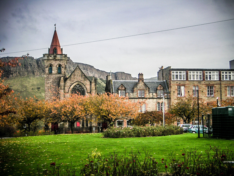 Edinburgh, Scotland<br /> Kirk O'Field parish church, Pleasance. Opened in 1912, it took its name from the historic St Mary-in-the-Fields which stood on the site now occupied by the University's Old College.