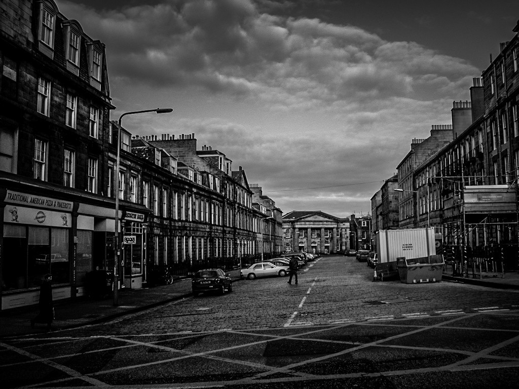 Edinburgh, Scotland<br /> Looking along Broughton Pl, with the former Broughton Place Church at the end.