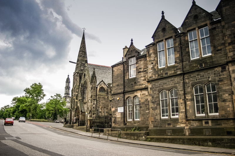 Edinburgh, Scotland<br /> From right to left : Canonmills School, Bellevue Chapel and Broughton St Mary's.