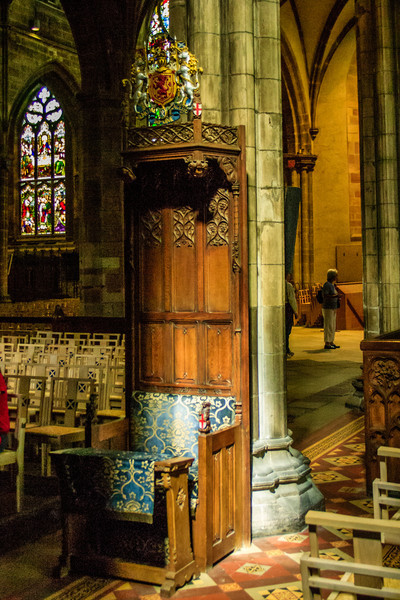 Edinburgh, Scotland<br /> St Giles' Cathedral. More correctly, the High Kirk of Edinburgh.<br /> <br /> The current building dates to 1385 (the original was destroyed by fire), and was extensively restored in the 19th century.