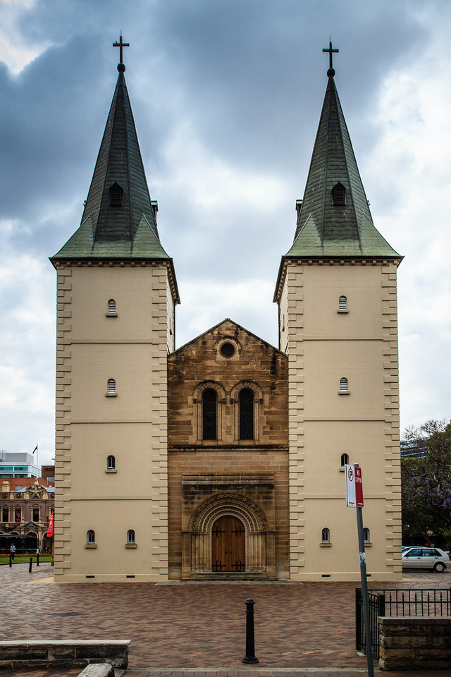 Parramatta, NSW, Australia<br /> St John's Cathedral, built 1855. The towers date to 1820, and there has been a church on this site since 1803.