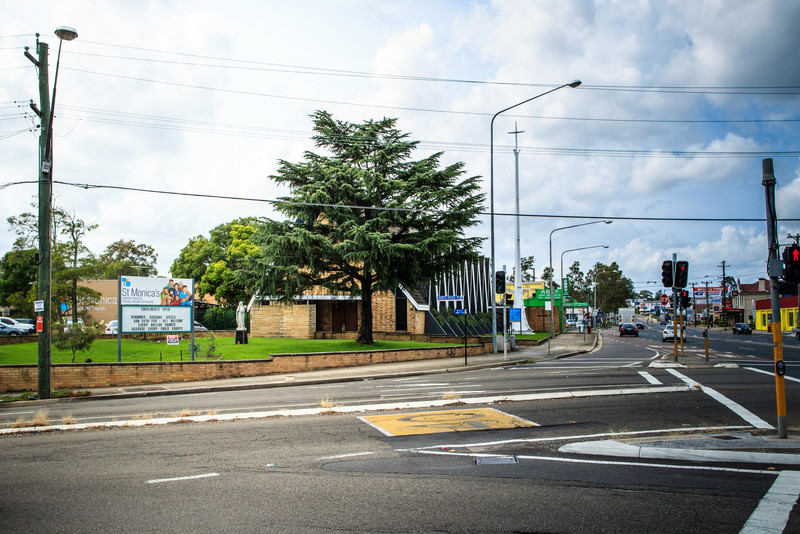 North Parramatta, Sydney, NSW, Australia<br /> St Monica's Church. Built in 1960 on the site of a former pub; a small church nearby (built in 1889, extended 1917) was also demolished at this time.