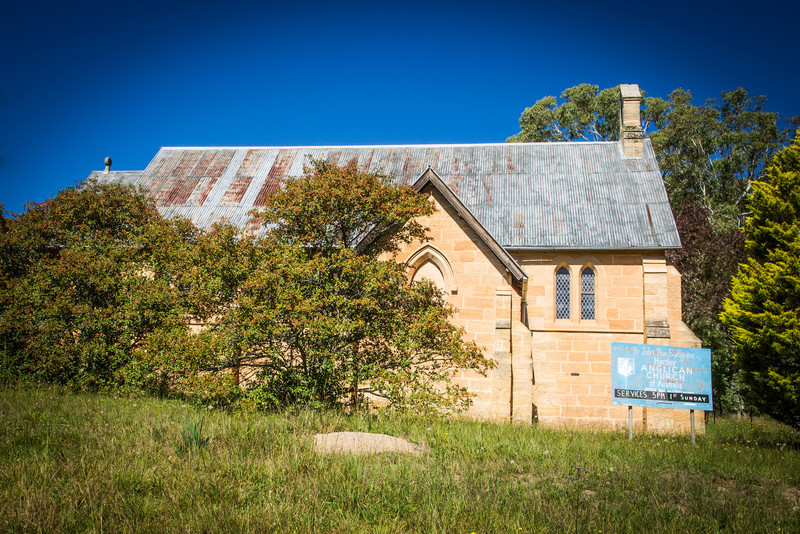 Hartley Vale, Blue Mountains, Australia<br /> St John the Evangelist Anglican Church, Hartley. A slightly odd-looking building, as the front door was moved to the rear so as not to be within sight of the Inn across the road. Designed by colonial architect Edmund Blacket; built in 1859.