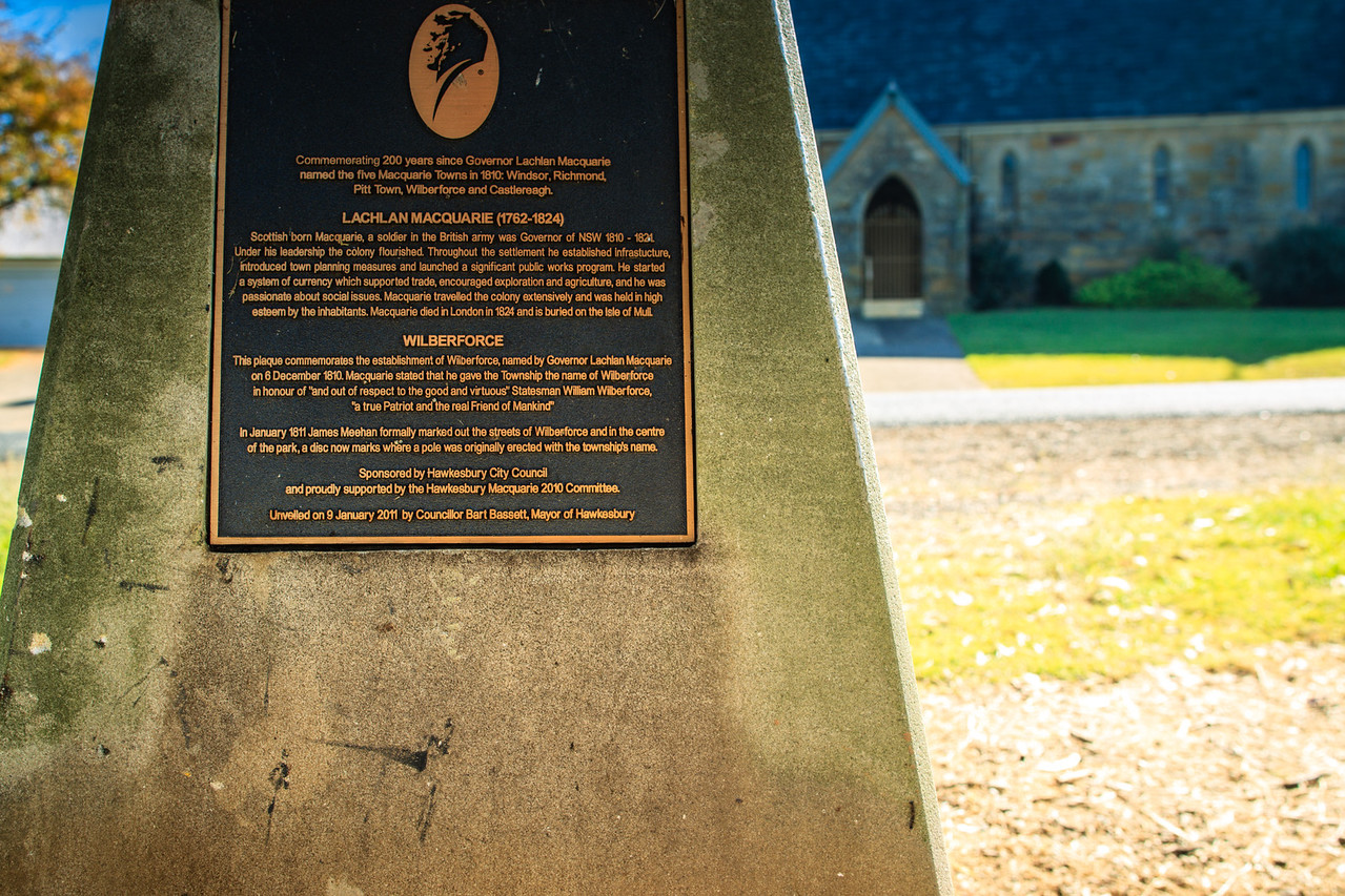 Wilberforce, Australia<br /> Plaque commemorating establishment of Wilberforce (one of the 5 'Macquarie Towns'); <br /> Wilberforce Park. St John's church in the background.