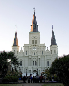 Historical St. Louis Cathedral on Jackson Square, in New Orleans, Louisiana, traditional front view