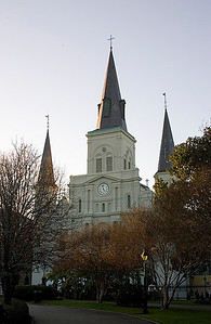 Historical St. Louis Cathedral on Jackson Square, in New Orleans, Louisiana, traditional front view showing trees in early spring before Katrina