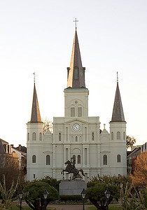 Historical St. Louis Cathedral on Jackson Square, in New Orleans, Louisiana, traditional front view with Statue of rider before hurricane Katrina