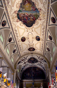 Ornate ceiling art in Historical St. Louis Cathedral on Jackson Square, in New Orleans, Louisiana