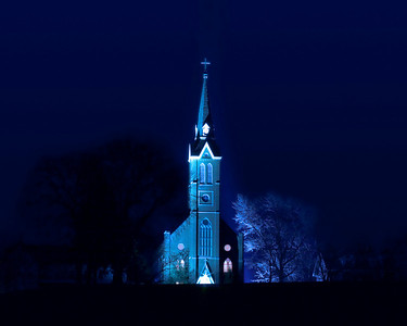 Historical Catholic church in Nauvoo next to the LDS Temple.
