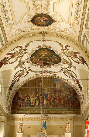 Ornate ceiling art in Historical St. Louis Cathedral on Jackson Square, in New Orleans, Louisiana, front center