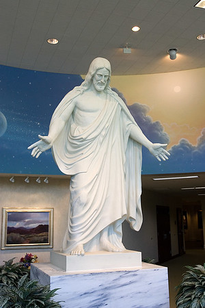 Christ statue inside the visitors center at the St. George, Utah LDS Temple grounds.