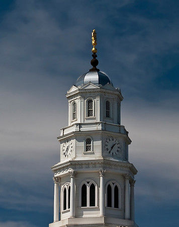Nauvoo IL, LDS Temple Top clock tower and Angel Moroni on top.