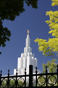 Top of the Idaho Falls LDS Temple and Moroni Statue in Idaho.
